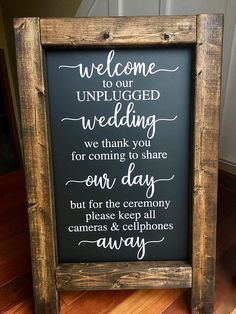 Welcome to Shell Belles Shoppe!! Beautiful rustic WELCOME TO OUR UNPLUGGED WEDDING chalkboard easel!! Perfect to set out and welcome guest to your special day!! The chalkboard is finished in either a dark walnut or antique white stain. Stands alone. Writing done in white & reads: