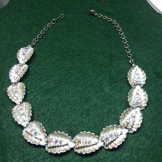 "Vintage Necklace, Silver Tone Leaf Patterns, AB Rhinestones, 16"" #Unbranded"