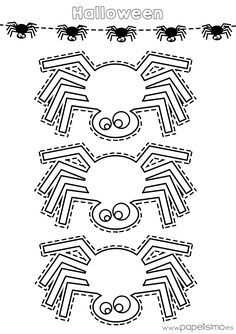 Coloring Page 2018 for Halloween Para Colorear Aranas, you can see Halloween Para Colorear Aranas and more pictures for Coloring Page 2018 at Children Coloring. Halloween Veranda, Casa Halloween, Theme Halloween, Easy Halloween Decorations, Halloween Porch, Homemade Halloween, Holidays Halloween, Halloween Infantil, Moldes Halloween