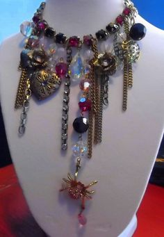 Silver and gold Princess Spider Necklace by avabunny on Etsy