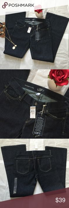 NWT LOFT Modern Flare Dark Wash Jeans-8P NWT LOFT Modern Flare Dark Wash Jeans-8P. 99% Cotton 1% Spandex. Originally $69.50, tag still attached! Very flattering, polished looking pair of denim! Fast Shipping! Smoke Free Home! Open to Offers on my Items or 15% off Bundles! 🌷Top 10% Seller!🌷 LOFT Jeans Flare & Wide Leg