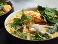 Classic Shrimp Laksa with Rice Noodles Recipe : Ching-He Huang : Recipes : Cooking Channel Chinese Noodle Recipes, Rice Noodle Recipes, Easy Chinese Recipes, Indian Food Recipes, Asian Recipes, Ethnic Recipes, Asian Foods, Food Network Recipes, Food Processor Recipes