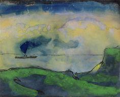 Emil Nolde, Grüne Küstenlandschaft mit Dampfer