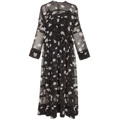 Carven     Tiered Floral Midi Dress ($730) ❤ liked on Polyvore featuring dresses, floral, floral dresses, calf length dresses, frilly dresses, mid calf dresses and ruffle midi dress