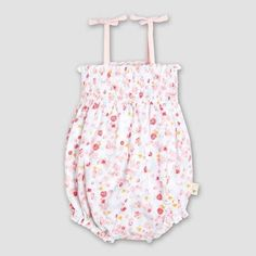 Burt's Bees Baby Girls' Organic Cotton Ditsy Floral Bubble Romper Summer is here! 100% organic cotton ditsy floral smocked bubble! Roomy silhouette is perfect for active little bees. Summery details include decorative tie straps, smocked bodice and a purled edge finish. Snaps at the diaper line for easy changes. #ad #romper #babygirl #summerbaby