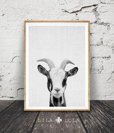 Goat Print, Farm Animal Wall Art, Black and White Goat, Animal Print, Printable Art, Nursery Animal Print, Modern Minimalist Wall Art