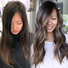 That with strong faceframe. So happy I finally nailed down the perfect faceframe and root melt technique. Hair Color Asian, Hair Color And Cut, Indian Hair Color, Ombré Hair, Hair Day, Brown Hair Balayage, Asian Balayage, Subtle Balayage Brunette, Asian Hair Highlights