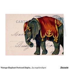 Vintage Elephant Postcard Digital Art