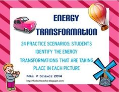 Twenty-Four opportunities for students to analyze a picture/situation and determine what energy transformation is taking place! Great practice, half-sheet size for minimal paper usage (and can be stapled/taped into your ISN) Answer key included! Can also be used as an assessment!