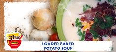 January 21st: Loaded Baked Potato Soup. This healthy loaded baked potato soup recipe is inspired by the comforting flavor of a fully loaded baked potatoes. You start with a creamy potato broth that you can make vegan or with dairy. Everyone can pick the toppings that they like, whether it is cheddar cheese, bacon, or chives. All the flavor and half the fat. #31MasselSoups #NationalSoupMonth #glutenfree