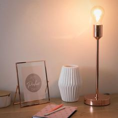Tafellamp, koperkleurig metaal, 41 cm, IDEA COPPER