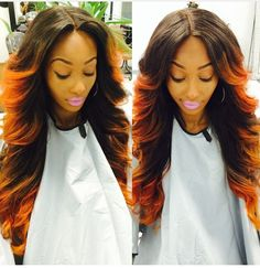 Sew in with ombréd tips