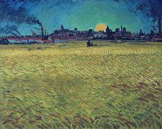 Summer Evening, Wheatfield with Setting sun, 1888. Vincent van Gogh