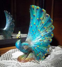 Vintage Peacock Porcelain Statue