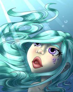 First underwater drawing 😊 I'm pretty happy with it  #digitalart #digitalartist #mermaid #fantasy #blue #bluehair #green #drawing #girl #bubbles #purple #scales #light #breathing #underwater #illustrator #illustrationart #art #design Underwater Drawing, Breathing Underwater, Digital Illustration, Purple, Blue, Illustrator, Bubbles, Digital Art, Mermaid