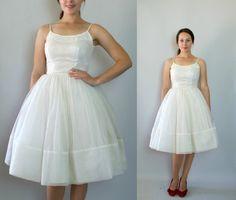 Vintage 1950s Wedding Dress -- Full Skirt Ivory Chiffon Cupcake Wedding Dress -- Going to the Chapel