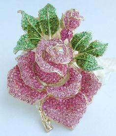 Rose Jewelry, Jewelry Art, Bridal Jewelry, Silver Jewelry, Flower Brooch, Brooch Pin, Vintage Brooches, Vintage Jewelry, Diamond Brooch