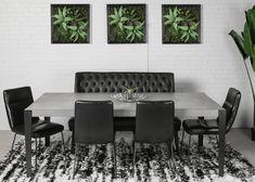 TABLE QUEENSTON - BÉTON GALET - 84'' X 42'' - 3'' ÉPAIS - CHAISES ACE - BANQUETTE MERIDIAN CU009-5 - TAPIS POLLOCK  #surmesure #lusine #table #queenston #beton #galet #meridian #cu0095 #banquette #chaise #ace #tapis #pollock
