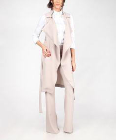 Look at this #zulilyfind! Beige Tie-Front Long Convertible Vest #zulilyfinds