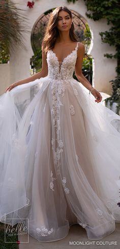 Moonlight Couture Wedding Dresses Fall 2019 Lace sleeveless ball gown wedding dress with sweetheart neckline tulle skirt and long train for the princess bride See more g. Wedding Dress Black, A Line Wedding Dress Sweetheart, Top Wedding Dresses, Wedding Dress Trends, Bridal Dresses, Burgundy Wedding, Casual Wedding, Wedding Ideas, Maxi Dresses