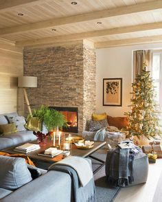 Rustic living room with fireplace