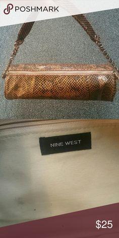 Bronze Leather Embossed Snakeskin Purse Nine West Bronze Leather Embossed Snakeskin Purse Bags