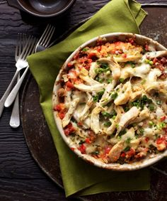 With the slightly spicy kick of poblano and jalapeño chile peppers, this cheesy chicken casserole is anything but ordinary. Get the recipe here.