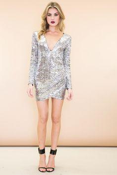 Zoe Deep-V Wrap Sequin Dress - Silver