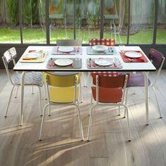 Table à manger rectangulaire esprit formica style rétro Vera