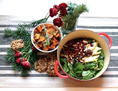 AthleticFoodie Holiday Party Treats Garlic & Rosemary Baked Sweet Potato Chips Roasted Brussels Sprouts, Pear & Chestnut Salad with Winter Citrus Vinaigrette Chocolate Cranberry Oat Cookies