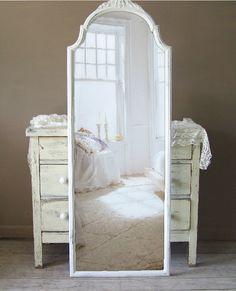 Leaning Mirror, Full length, Shabby Chic White, Wood. $325.00, via Etsy.