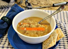 Crockpot recipes like this one, chicken and barley soup, check them all out, yummy and easy!