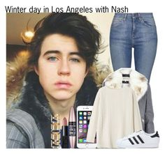 """""""Winter day in Los Angeles with Nash"""" by irish26-1 ❤ liked on Polyvore featuring Topshop, River Island, NARS Cosmetics, Atmos&Here, Maybelline, Toast and adidas"""