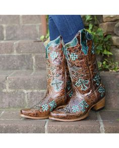 Corral Women's Whiskey Marble Brown/Turquoise Cross Cowgirl Boot   http://www.countryoutfitter.com/products/27503-womens-whiskey-marble-brown-turquoise-cross-boot-r1019 #cowgirlboots