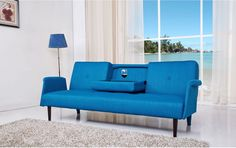 Contemporary Convertible Sofa Bed Blue Modern Wood Seat Living Room Furniture #Doesnotapply #ContemporaryMidCenturyModernTransitionalUrban #Sofa #Bed #Blue #Modern