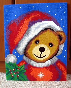 Teddy Santa 4 Kids, Perler Beads, Beading Patterns, Winter, Santa, Embroidery, Pictures, Crafts, Painting