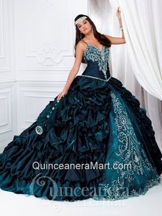 Romantic Spaghetti Straps Ball Gown Beading and Pick-ups Quinceanera Dress