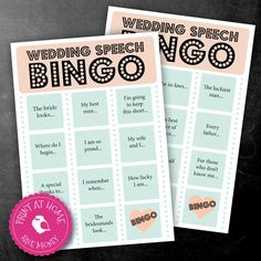 DIGITAL PRINTABLE A5 Wedding Speech Bingo Game - Instant Download - Print at home by ChubbySparrow on Etsy