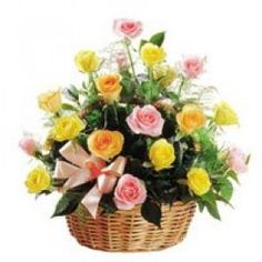 Basket of Yellow and Pink Roses