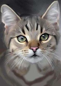 ACEO Oil Painting Cat Grey Tabby Green Eyes Bradberry | eBay