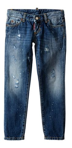 Do your homework.  Sharpen his style and let him ace the test of time in the #DSQUARED2 #Kids Pat #Jeans with #Bleached #Spots. #denim  #childrenswear #child #boy #apparel #clothing #bottom