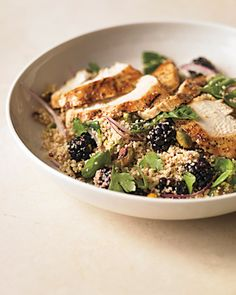Whole-Wheat Couscous with Pistachios and Blackberries:  Toss cooked and cooled whole-wheat couscous with thinly sliced red onion and lemon juice. Season to taste and add toasted, shelled pistachios, fresh blackberries, and extra-virgin olive oil. Stir in basil, cilantro, or parsley leaves just before serving. Top with sliced, grilled chicken breast, lamb, pork, or tofu.