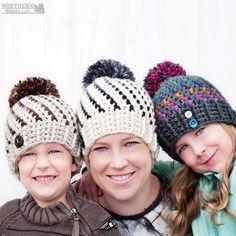 Crochet hat pattern - Northern Lights Beanie (Hat) by Northern Knots - Pom Pom hat - winter crochet hat - chunky crochet hat pattern - winter beanie pattern - easy crochet pattern