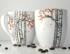 Autumn Aspen Forest - 2 Large Personalized Mugs - Hand Painted Mug, Custom Mug, Fall Coffee Mug buy plain white mugs and create sharpie art on it and bake it in at for 30 min, great gift idea! Hand Painted Mugs, Painted Cups, Painted Coffee Mugs, Diy Projects To Try, Craft Projects, Diy Becher, Sharpie Crafts, Sharpie Mugs, Sharpies