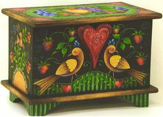 Folk Art Painted Box/ I love this piece. Mine is almost done, 2015 will be a year of finish sec.