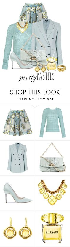 """""""Pastels in Winter"""" by shamrockclover ❤ liked on Polyvore featuring RED Valentino, Theory, Zanellato, Chanel, David Yurman, Versace, Hermès and pastel"""