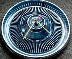 Chevrolet vintage hub cap Clock classic car auto garage man cave repurposed