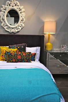 Grey Bedroom w/ Bright Accents Colors #HomeDecor #VHDS12