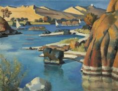 Mahmoud Said (Egyptian, 1897-1964), Rocks and Hills in Aswan, 1953.