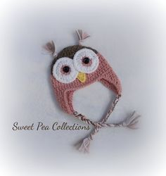 Pink Crochet Owl Earflap Hat Owl Cap Girl Owl Hat with Braids Girl Owl Hat Owl Photo Prop Owl Beanie Pink and Brown and Pink READY TO SHIP by sweetpeacollections on Etsy